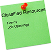 post it note with classified resources written on it